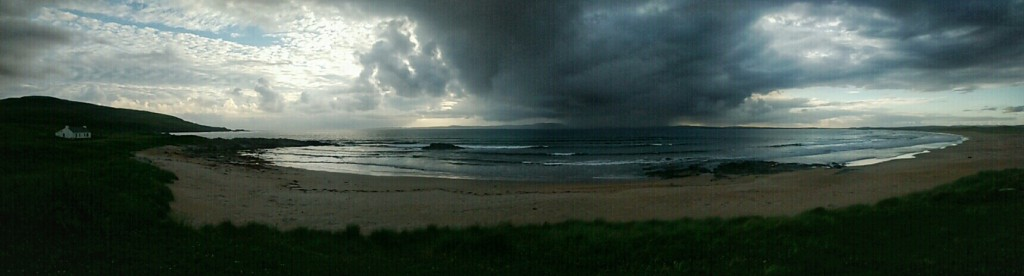 At our campsite at Kintra Farm we watched a storm approach from the Atlantic.