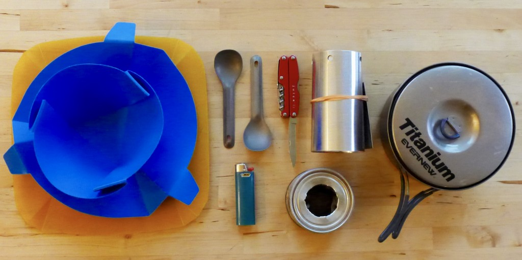 Our simple cook kit complete with new windscreen cone but our old alcohol stove.
