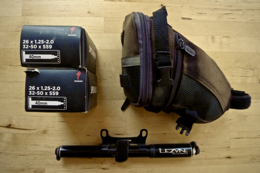 Two spare tubes will live in the bottom of my pannier while the tools living in the Topeak seat bag and the pump will be attached to my bike.