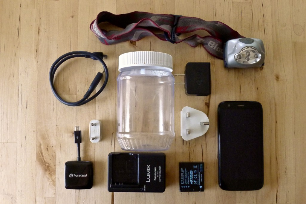 Except for the headlamp, phone, and camera, the electronics fit in a small peanut butter jar.
