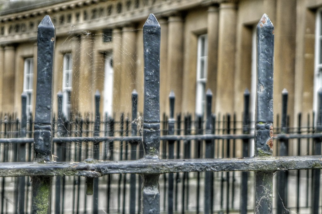 Wrought iron fences line the walkways in front of The Circus, a circular arrangement of housing blocs built in the 18th century.