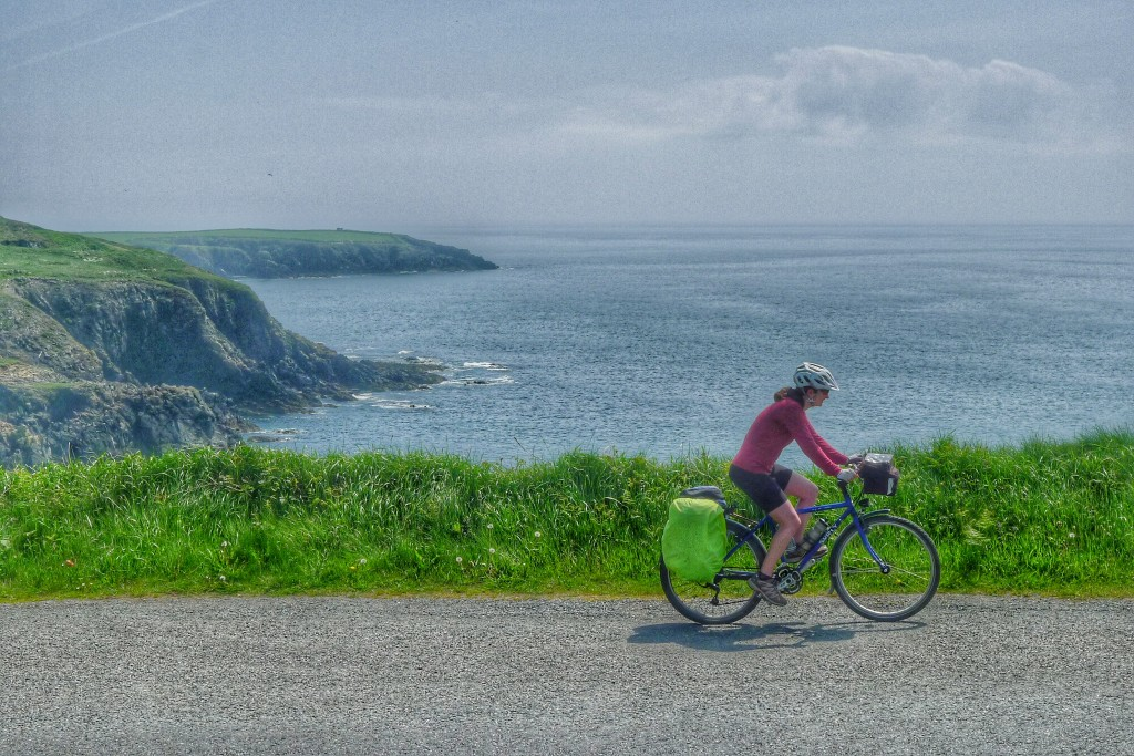 Carrie cruises up a climb along the south east coast of Ireland.