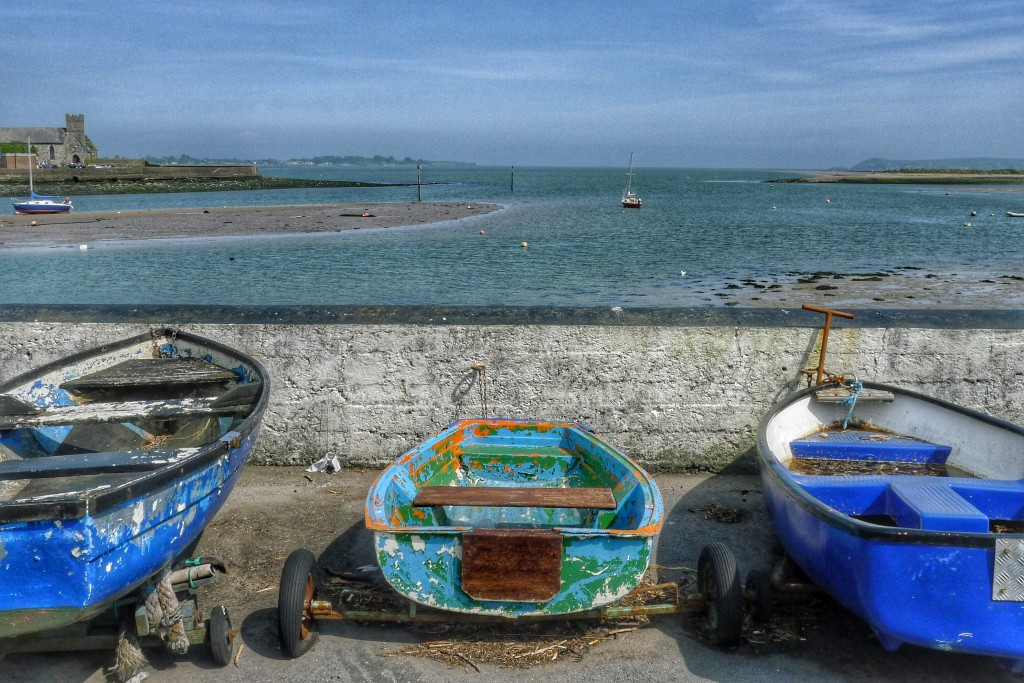 Some boats dry out in the town of Dungarvan.