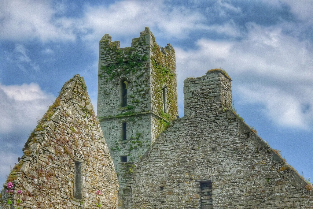 The Timoleague Abbey's tower with some smaller sections of the building in the foreground.