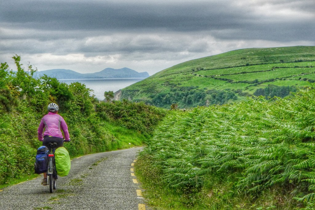 When possible, we would get off the main road and on to little farm roads. This one have us a peak of the Iveragh Peninsula, which we came from a few days ago.