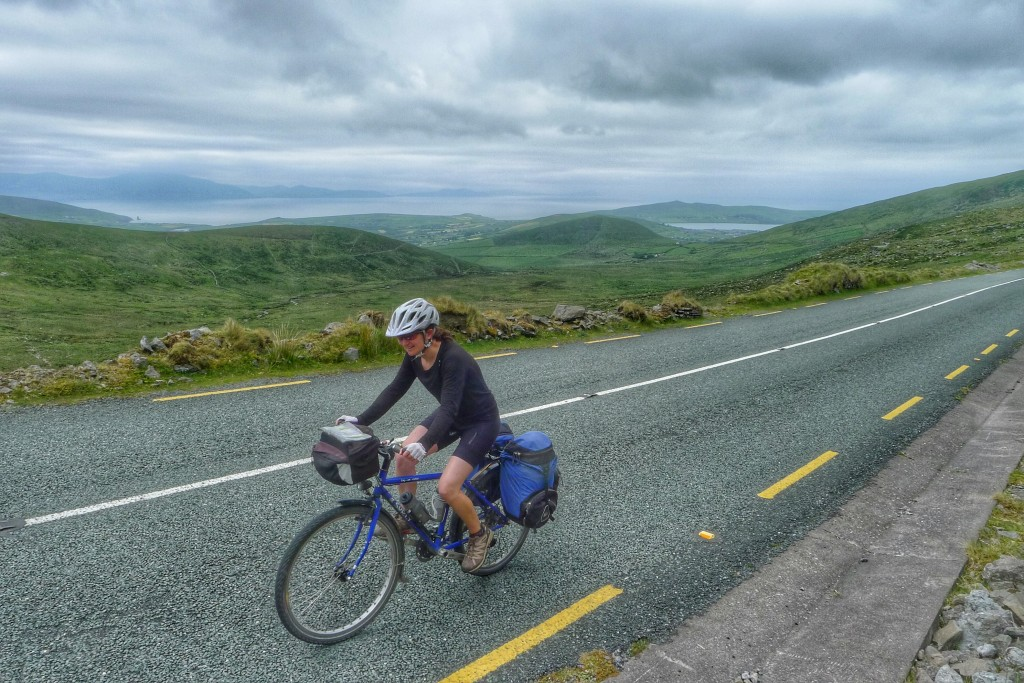 Carrie chugs up Connor Pass, leaving dramatic Dingle in the background.