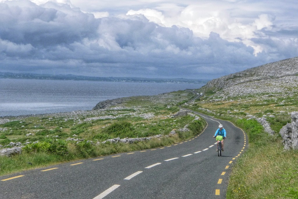 Carrie makes a short climb just north of Doolin on the edge of the Burren.