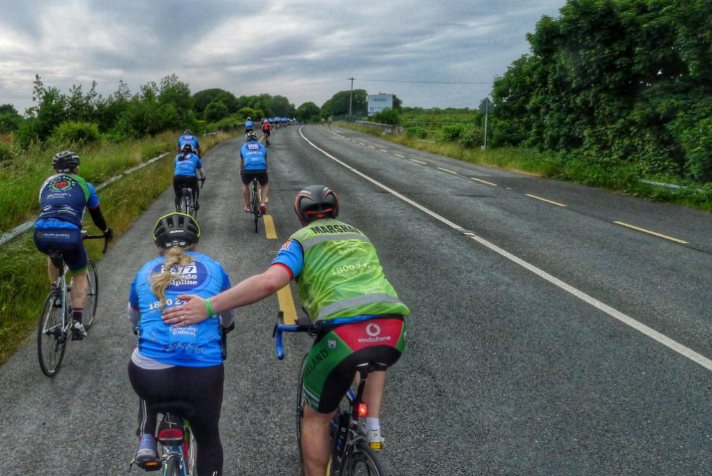 We joined a charity ride as we entered Galway. The riders rode from Dublin, about 125 miles away. One of the marshalls gave this woman struggling at the back a helping hand.