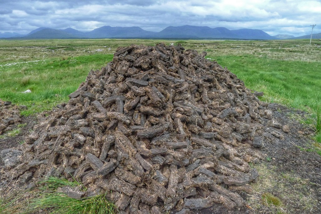 A pile of peat turf dries out.
