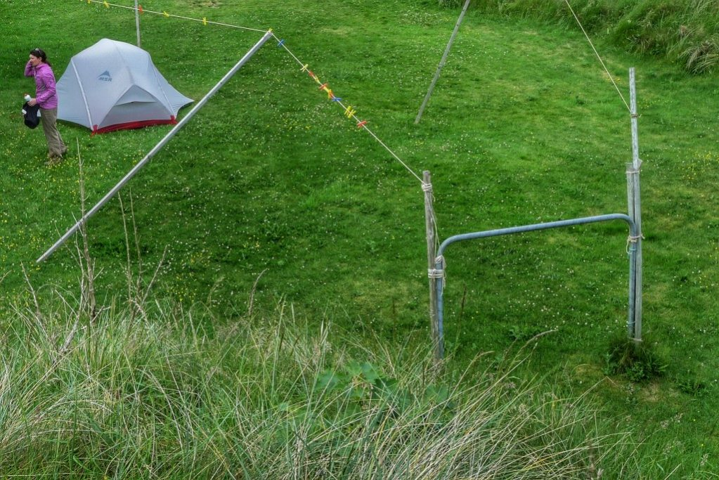 We pitched our tent in the backyard of a surfer's hostel in Strandhill.