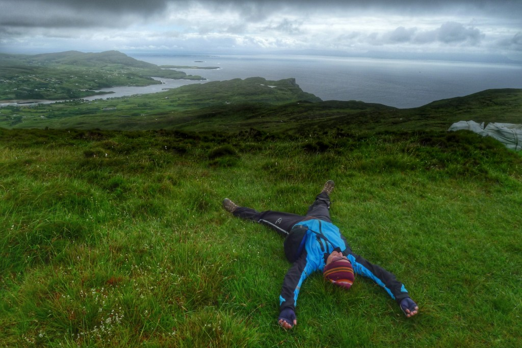 Carrie makes a bog angel looking out to Donegal Bay.
