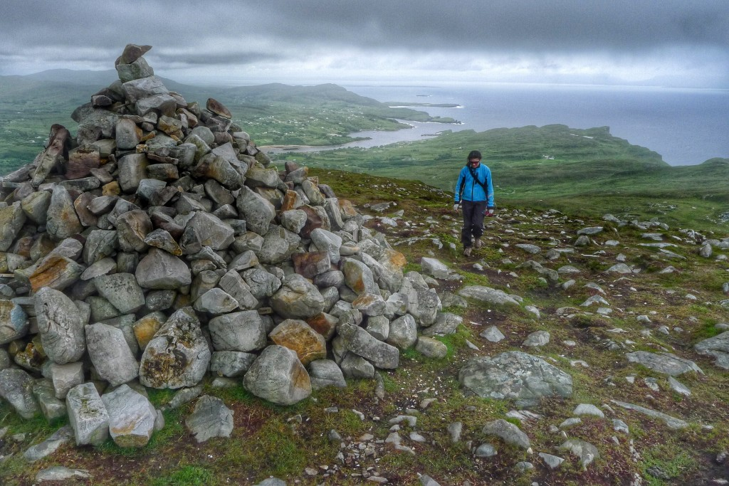 Our hike ended at this large cairn with views to Donegal Bay on one side and the Slieve League Cliffs on the other.
