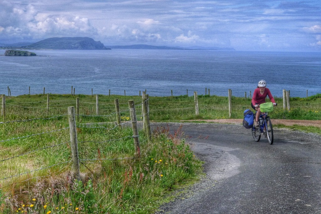 Carrie round a corner with the northern coast behind her as we rode along the Malin Head.