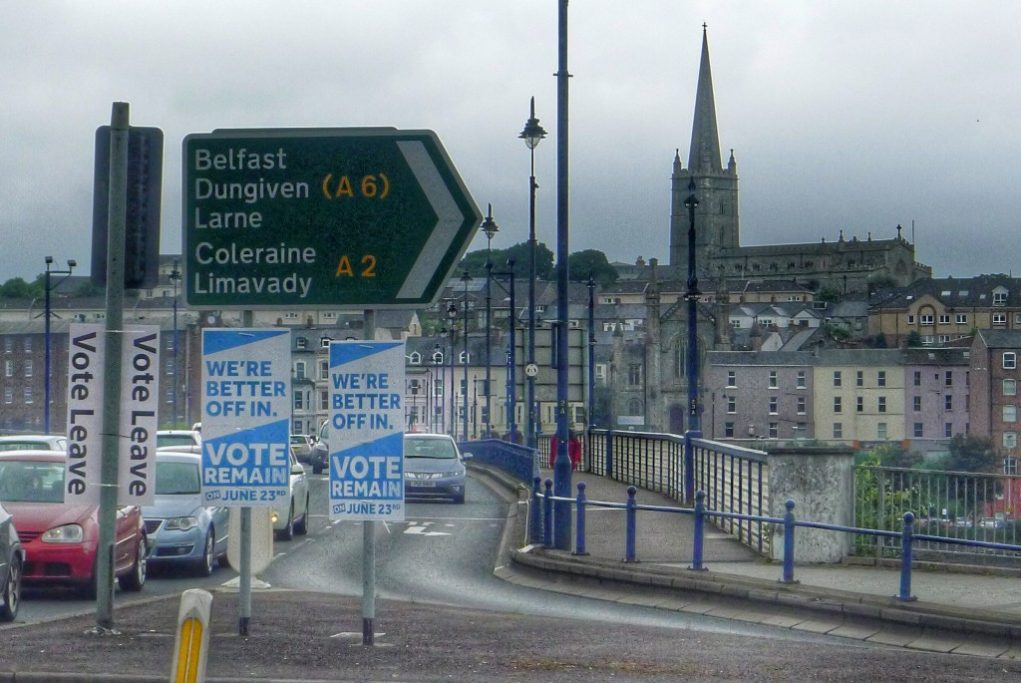 The leave and remain campaign signs were posted at every major intersection.