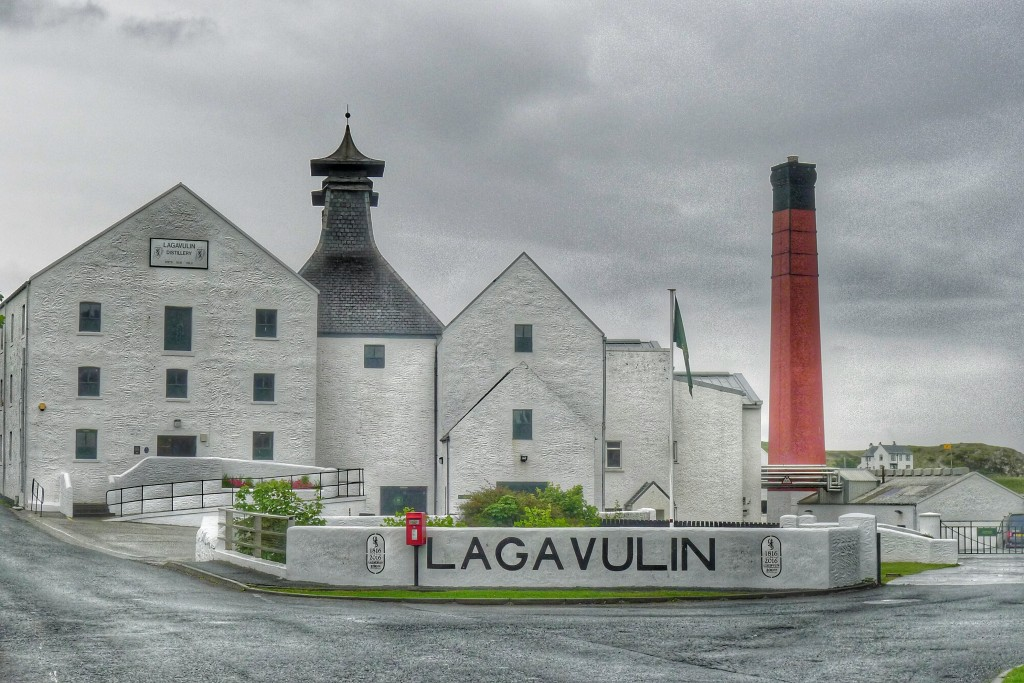 The Lagavulin distillery sits in a pretty harbor.
