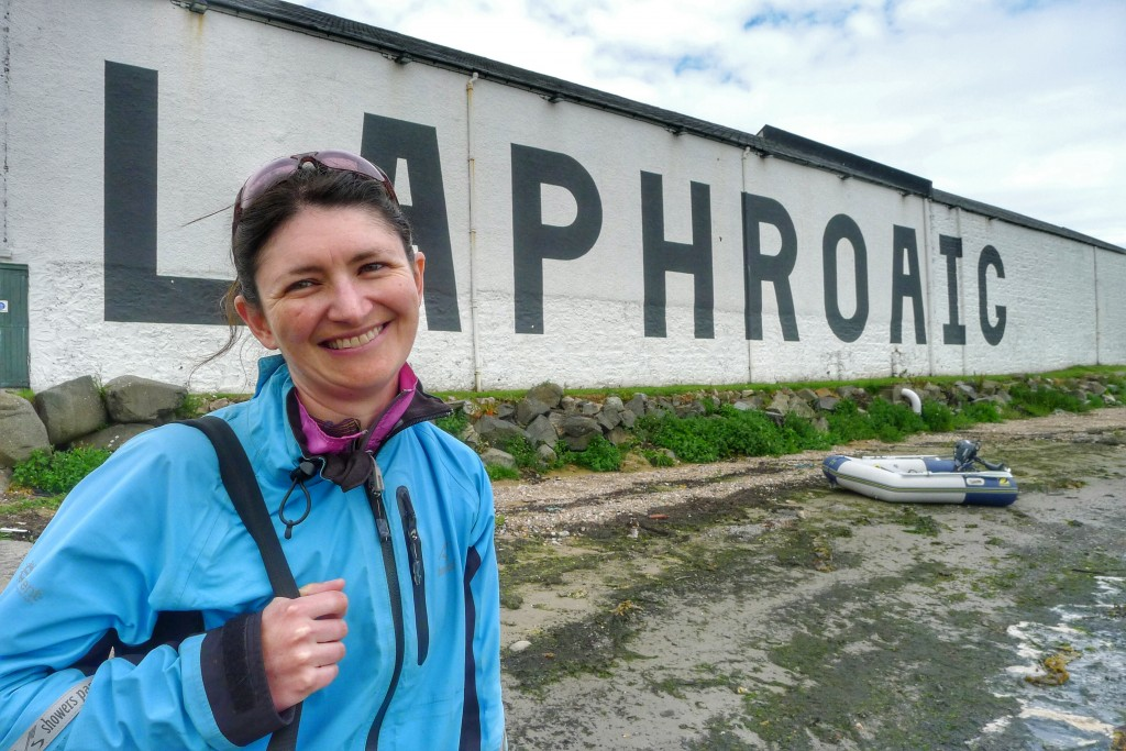 We're all smiles after the Laphroaig tour.
