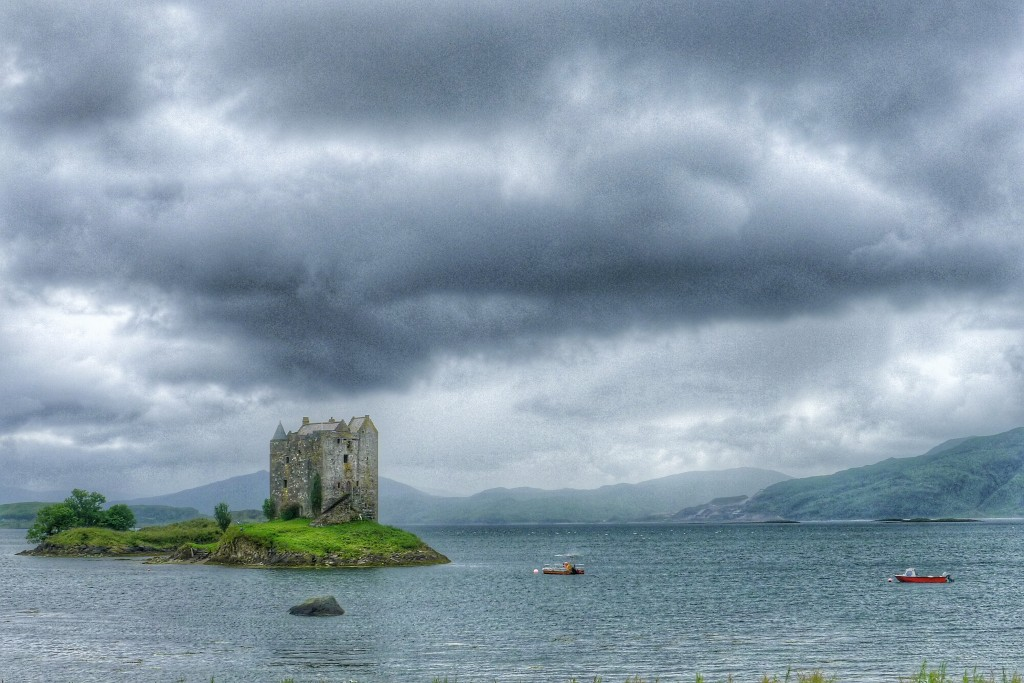 Castle Stalker guards Loch Leven from Viking invaders.