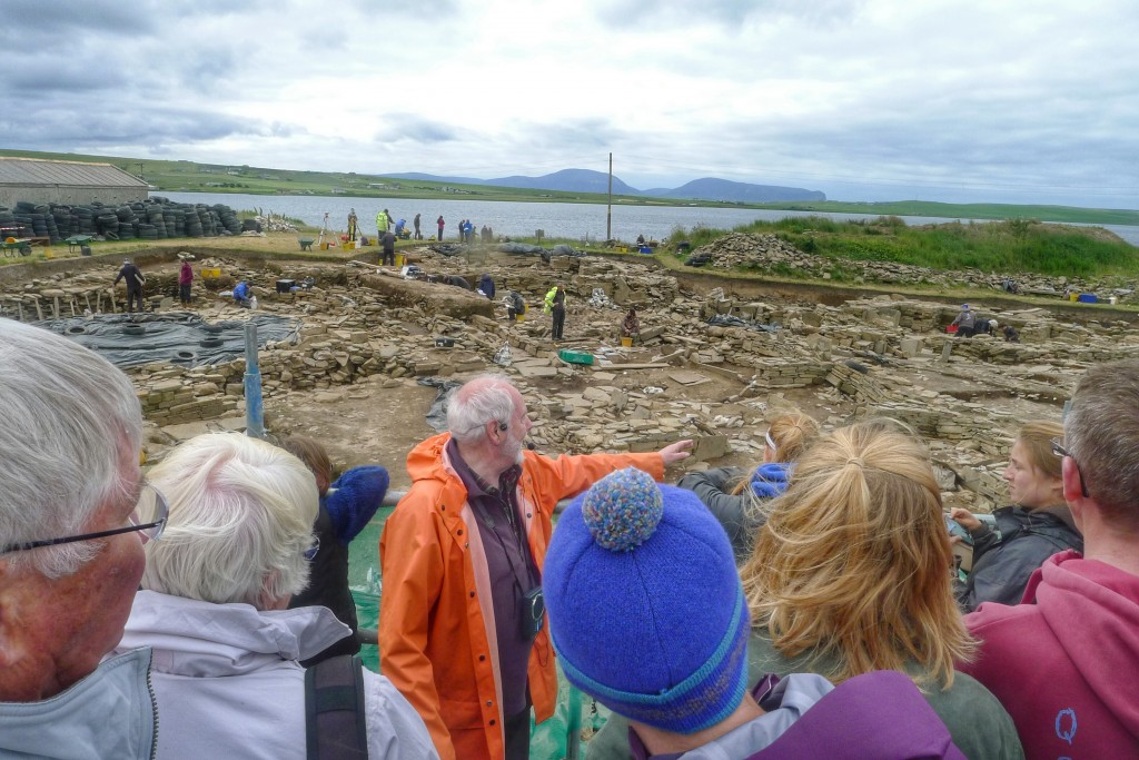 The gentleman in orange described some of the recent findings at this active archeological site on the Orkney mainland.