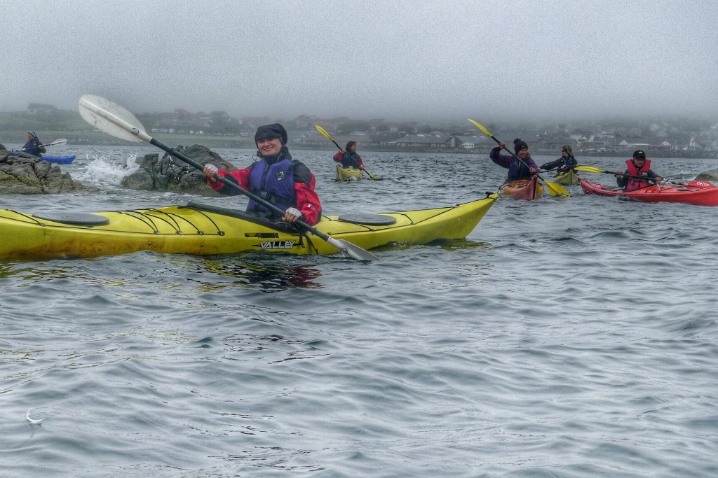 Carrie gets her kayak on in normal Shetland summer weather.