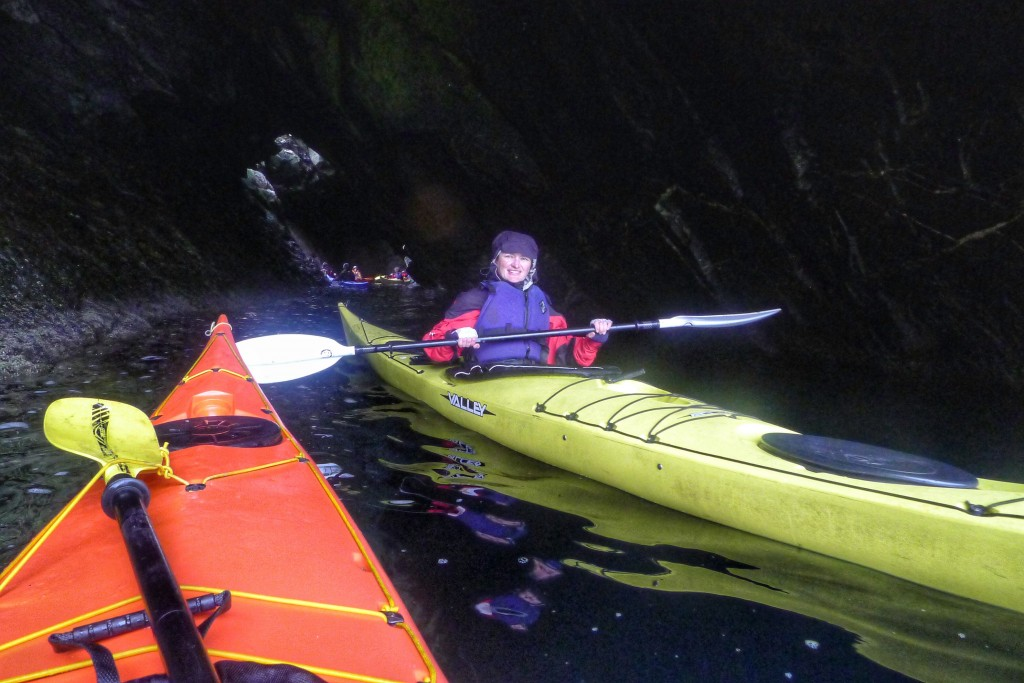 We got to kayak into this neat cave where we saw some big jellyfish.