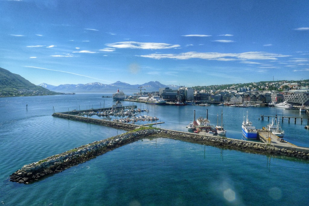Tromsø is an island plopped right in the middle of a fjord, with more fjords visible every direction.