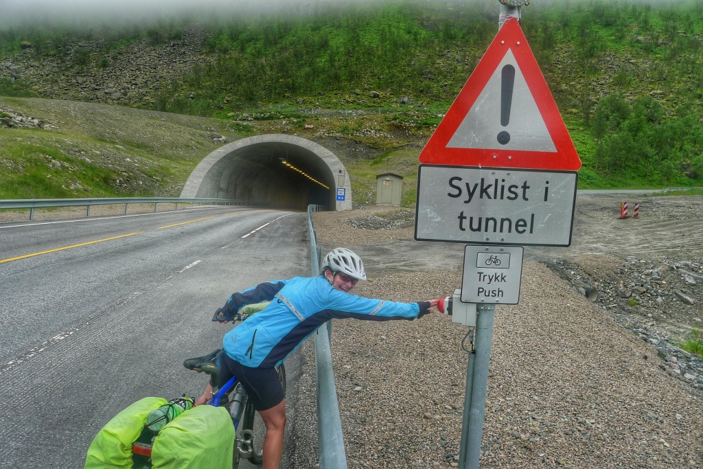 Just outside of Gryllefjord, we had our first long tunnel experience. It was all downhill for 1km. The button activated a flashing light to let drivers know to watch out for us.