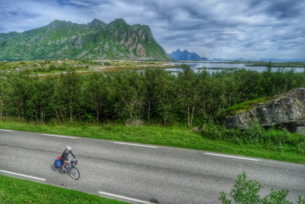 The roads wound around towering mountains all day on the Lofoten Islands.