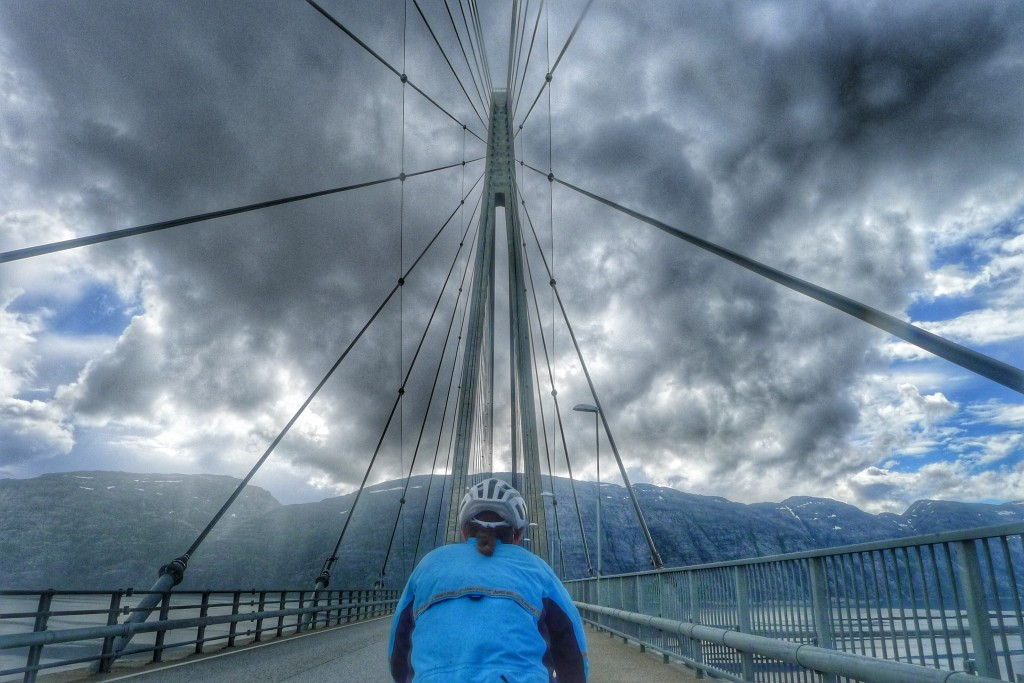 This is not a tunnel, but I liked this cable bridge, and we ride over it today.