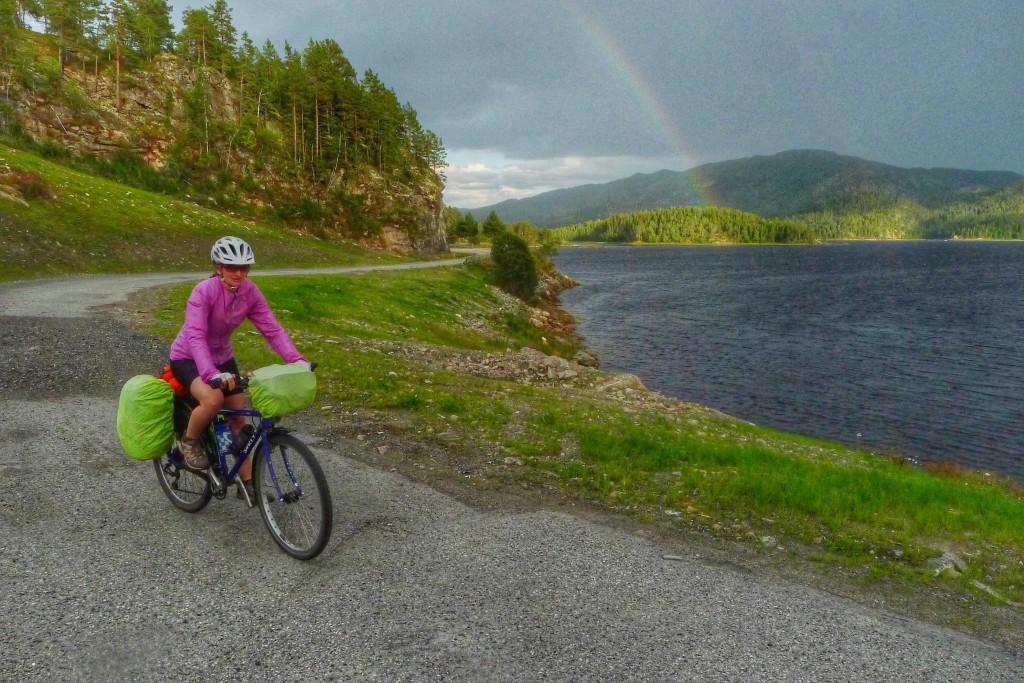 So we rode along enjoying a sun shower and a splendid rainbow.