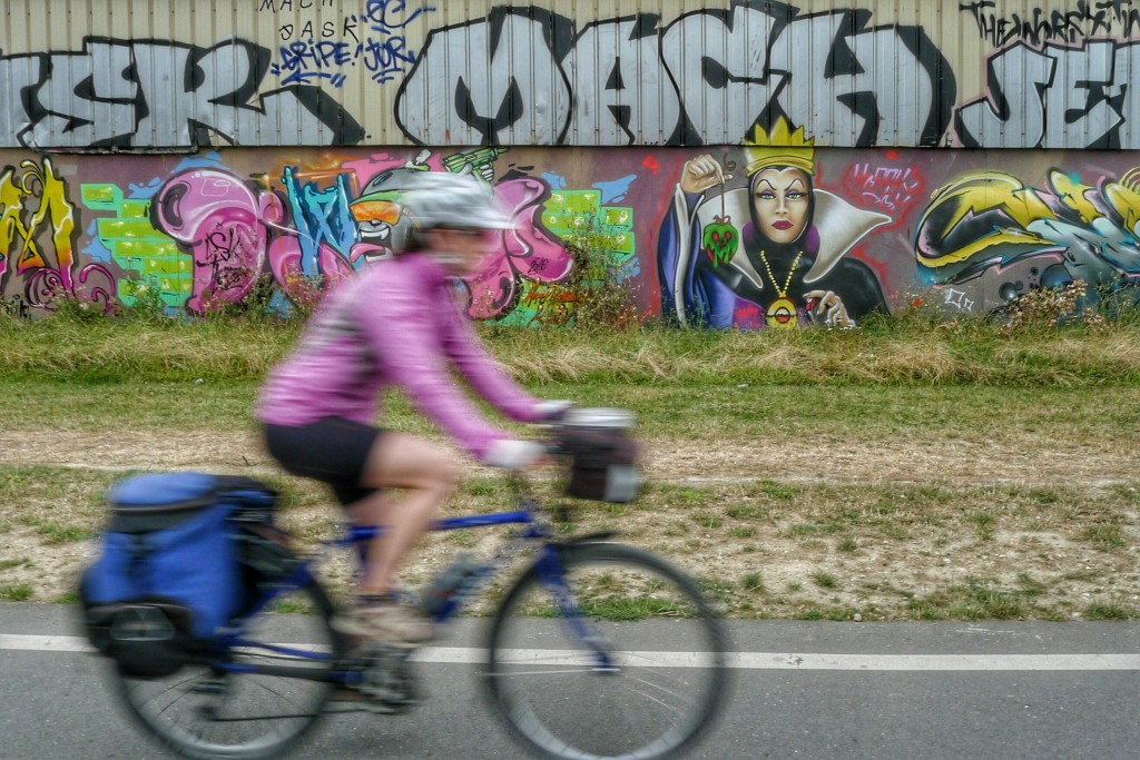As we rode out of Paris on a nice bike path we passed lots of interesting graffiti.