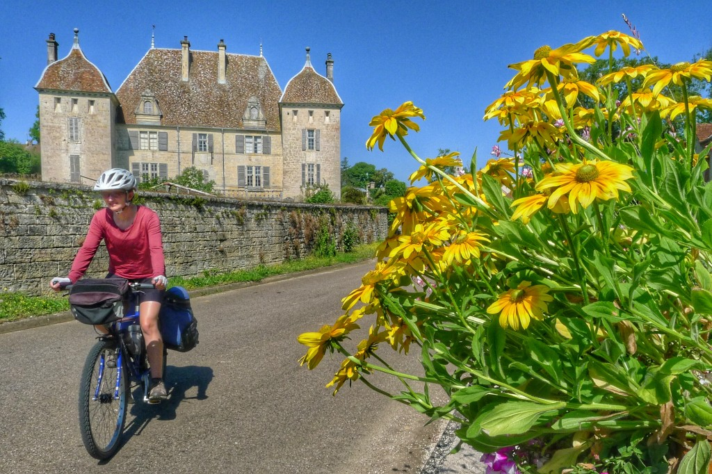 We rode by flowers and a lovely château on our way to Besançon.