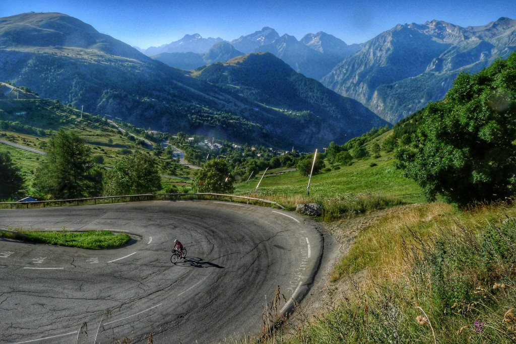 Carrie rides around turn 2, 3km from the top of L'Alpe d'Huez.