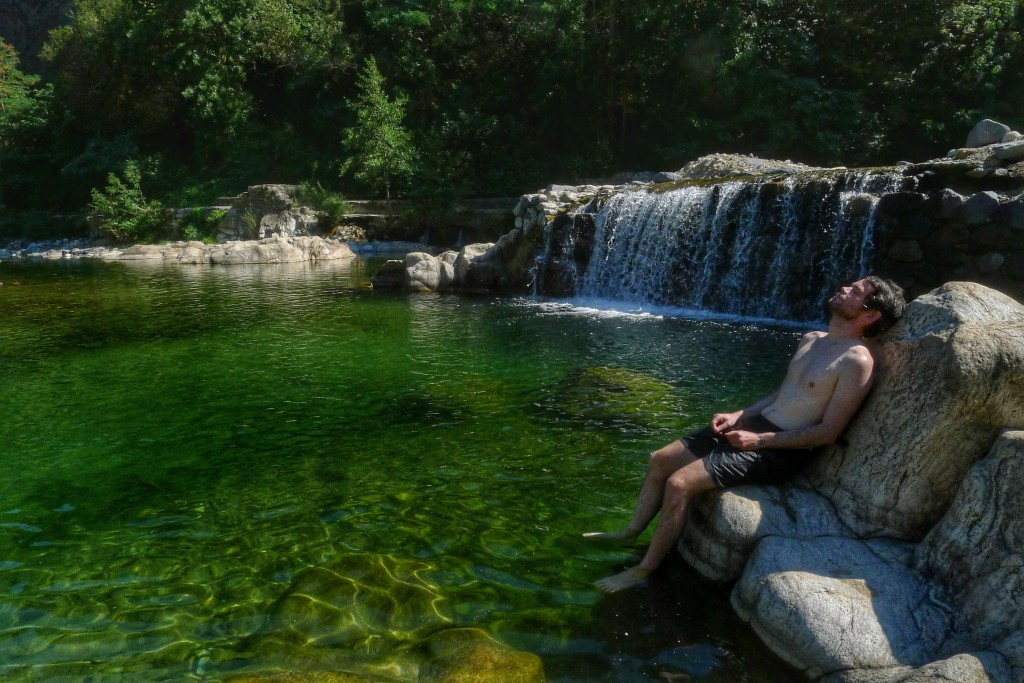 The campground at Pont-de-Lambeaume offered access to a nice swimming hole below a waterfall. A perfect way cool off on a hot day.