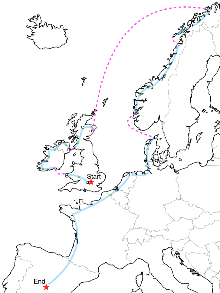 Here's a crummy visual of our European tour. We start in London, head west, ferry to Ireland, ride around the coast of Ireland and into Northern Ireland, ferry to Scotland, head towards Aberdeen, fly to Tromsø, ride down the coast of Norway to Bergen, ferry to Denmark, and then ride and train to Madrid.