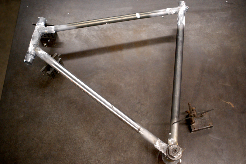 The front triangle of my touring frame is tested for alignment on Doug's surface plate.