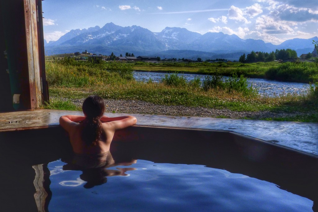 Carrie takes in the view of the Sawtooths from the Mountain Village Lodge's hot spring.