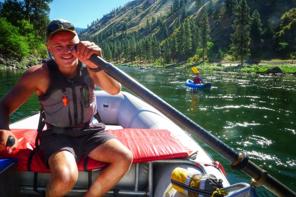 Our rafting guide Drew mans the oars as we cruise down the Salmon River.