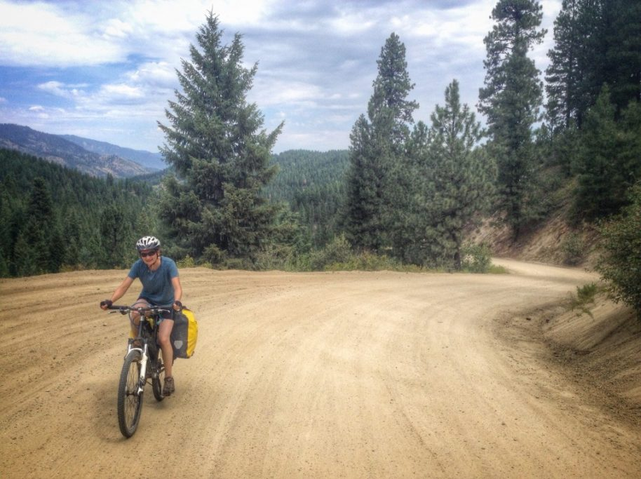 Carrie churns the gears up the steeper portion of Alder Creek Road.