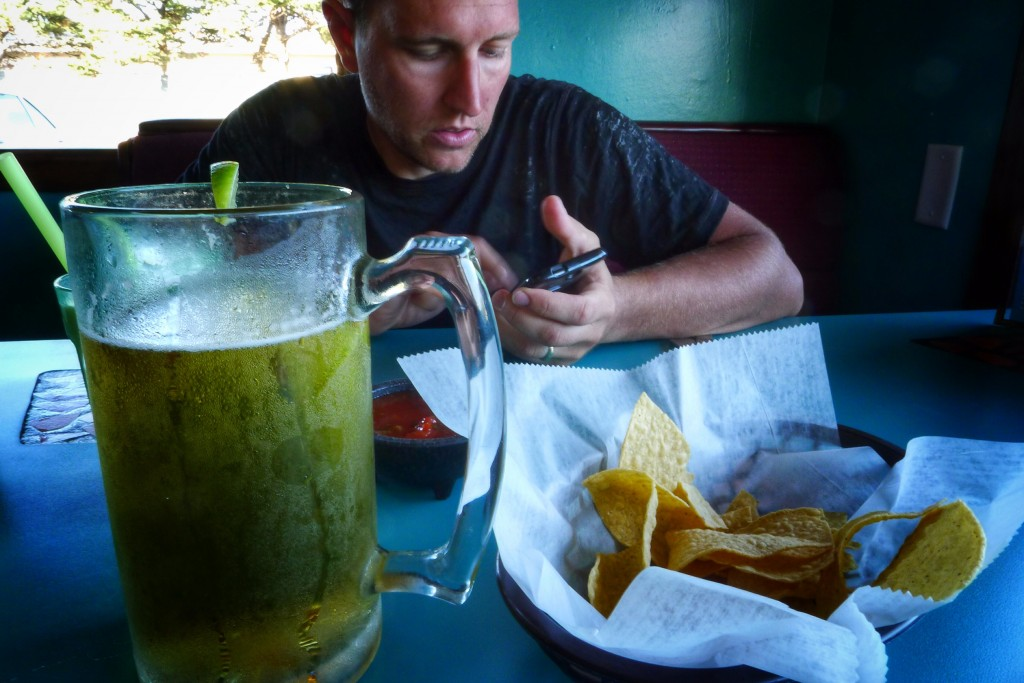 A large beer and chips & salsa are perfect appetizers for an enormous serving of Mexican food in Reedsport.