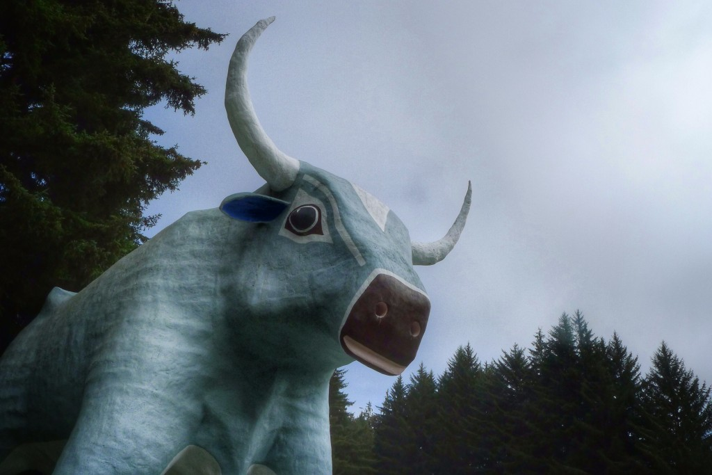 "Babe the Blue Ox oversees the entrance to the ""Trees of Mystery"" roadside attraction."