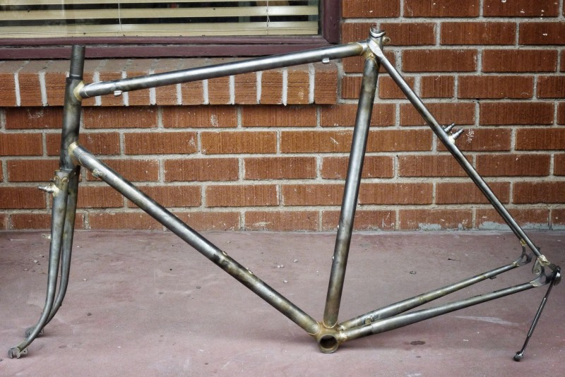 My new frameset denuded of all unwanted flux. All it needs is some more file work and it'll be ready for paint.